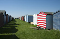 Beach Huts at Dovercourt, near Harwich, Essex, UK. Rows of beach huts at Dovercourt, near Harwich, Essex, UK Royalty Free Stock Photo