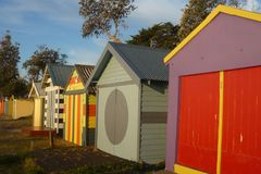 Beach Huts at Dromana. Row of beach huts at Dromana beach, Victoria, Australia royalty free stock photo