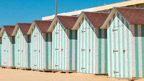 Beach huts at the end of the summer season stock photo