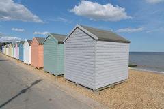 Beach huts at Felixstowe. Beach huts on Felixstowe beach Stock Images