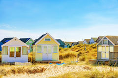 Beach huts with grassland Royalty Free Stock Image