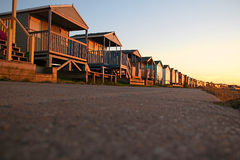 Beach huts from ground level Royalty Free Stock Images