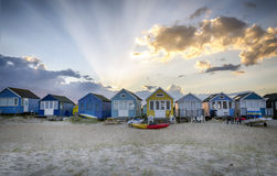 Beach Huts at Hengistbury Head Stock Photography