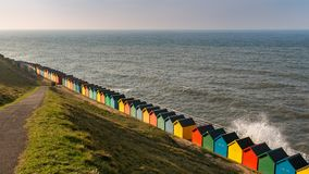 Beach huts in Whitby, North Yorkshire, UK stock images