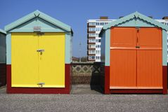 Beach huts on Hove seafront. UK Royalty Free Stock Images
