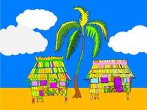 Beach Huts Illustration Stock Photos