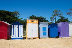 Beach huts on island Oleron in France. Colorful beach huts on the beach at Saint-Denis island d'Oleron in France stock images