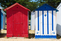 Beach huts on island Oleron in France. Colorful beach huts on the beach at Saint-Denis island d'Oleron in France royalty free stock images