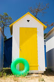 Beach huts on island Oleron in France. Colorful beach huts on the beach at Saint-Denis island d'Oleron in France stock image