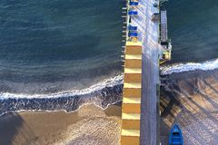 Beach huts and jetty in Sorrento, Campania, Italy Royalty Free Stock Image