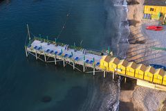 Beach huts and jetty in Sorrento, Campania, Italy Stock Image