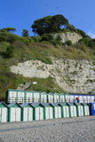 Beach huts on the Jurassic Coast Stock Photos