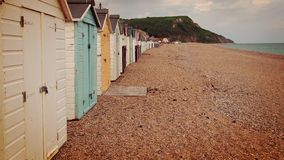 Beach Huts. Lined across a British beach Stock Images