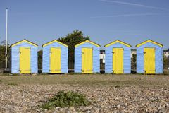Beach huts at Littlehampton. England Stock Images