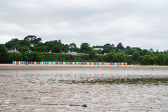 Beach huts on Llanbedrog beach, North Wales, UK Stock Photography
