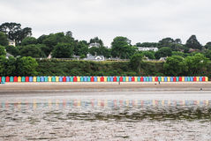 Beach huts on Llanbedrog beach, North Wales, UK Stock Photos