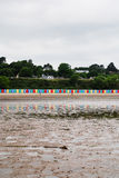 Beach huts on Llanbedrog beach, North Wales, UK Royalty Free Stock Photo