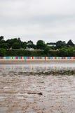 Beach huts on Llanbedrog beach, North Wales, UK Royalty Free Stock Photo