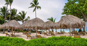 Beach Huts at Luxury Resort in Dominican Republic Royalty Free Stock Photos