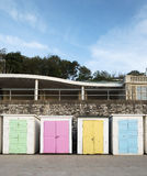 Beach Huts at Lyme Regis, Dorset, UK. A group of pastel coloured beach huts at Lyme Regis, Dorset, UK Stock Images
