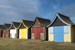 Beach Huts at Mablethorpe. Colorful Beach Huts at Mablethorpe, Lincolnshire, UK Royalty Free Stock Photos
