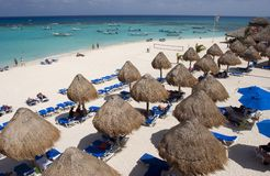 Beach Huts in Mexican Riviera Royalty Free Stock Images