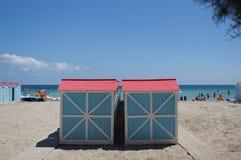 Beach huts in Mondello Stock Photography