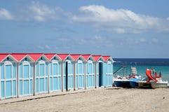Beach huts in Mondello Stock Photos