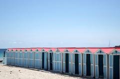 Beach huts in Mondello Royalty Free Stock Photos