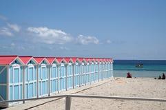 Beach huts in Mondello Royalty Free Stock Image