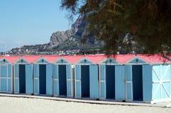 Beach huts in Mondello Stock Image