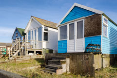 Beach Huts at Mudeford Spit Stock Image