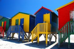 Beach huts in Muizenberg, South Africa. Brightly colorful beach cabins in Muizenberg, Western Cape, South Africa Stock Photos