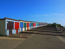 Beach huts. Multicoloured beach huts in Bude, Cornwall Stock Images