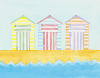 Beach huts near the sea. Royalty Free Stock Photos