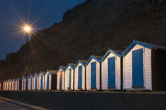 Beach Huts at Night. Shanklin, Isle of Wight, UK Stock Photo