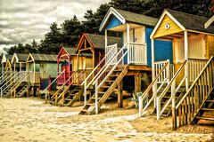 Beach Huts stock photography