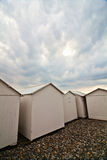 Beach huts at the Norman coast in France Stock Photography