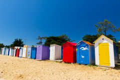 Beach huts Oleron island. Colorful beach houses on Oleron island in France stock images