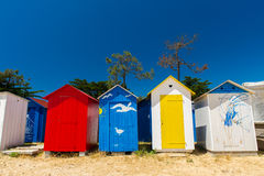 Beach huts Oleron island. Colorful beach houses on Oleron island in France royalty free stock image