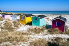 Free Beach Huts Or Bath Cottages On Skanor Beach Dunes And Falsterbo In South Sweden, Skane Travel Destination. Domestic Tourism Stock Images - 182905564