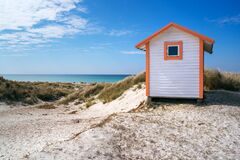 Free Beach Huts Or Bath Cottages On Skanor Beach Dunes And Falsterbo In South Sweden, Skane Travel Destination. Domestic Tourism Royalty Free Stock Photo - 182905735