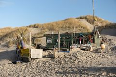 Beach Huts and other Objects out of Flotsam and Jetsam. AMRUM, GERMANY - JANUARY 02, 2018: On the Kniepsand Beach of  the North Frisian Island Amrum in Germany Stock Photos