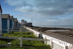 Beach huts overlooking the sea Royalty Free Stock Images