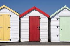 Beach Huts at Paignton, Devon, UK. Three colorful beach huts at Paignton, Devon, UK Royalty Free Stock Images