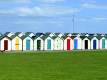 Beach Huts, Paignton, South Devon. A colorful double row of Beach huts on the seafront at Preston Sands, Paignton, English reviera, South Devon, England, UK Stock Photography