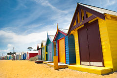 Beach huts in perspective Stock Photo