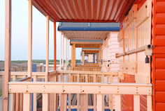 Through the beach huts Royalty Free Stock Photography