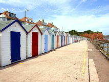 Beach huts, Preston beach, Paignton. Royalty Free Stock Photos