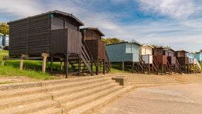 Beach huts at the promenade. Seen in Walton-on-the-Naze, Essex, England, UK stock images
